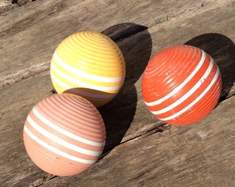 Vintage Croquet Balls, Vintage Wood Balls, Croquet Ball, Decorative Wood Ball, Home Decor, Pink Wood Ball, Yellow Wood Ball, Orange Wood Bal