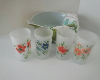 Vintage White Frosted Hand Painted Flower Juice Glasses