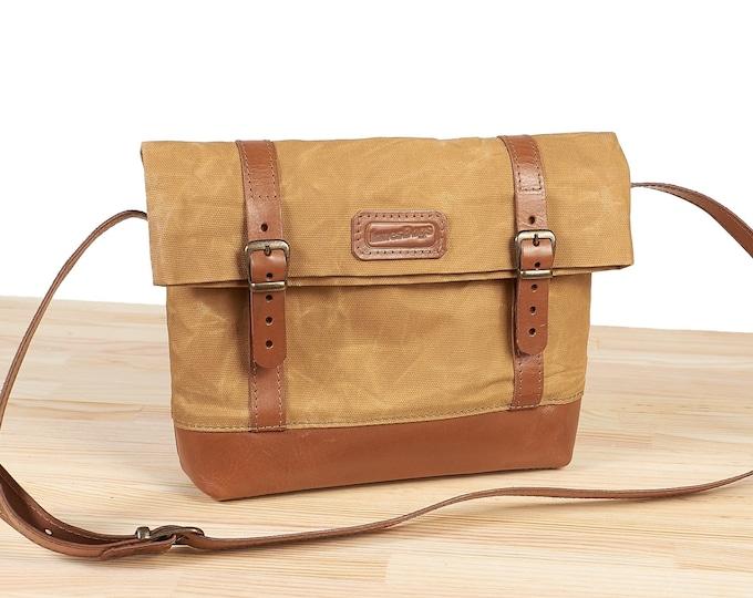 Waxed canvas crossbody bag.  Yellow waxed canvas bag. Small crossbody bag. Womens canvas bag.