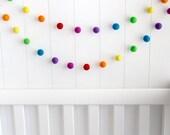 Wool Felt Ball Garland. Rainbow Pom Pom Garland. Kids Room Decor. Nursery Bunting. Birthday Party Garland. Nursery Decor. Gender Neutral