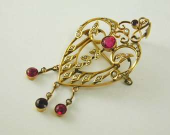 Art Nouveau Ruby paste & pearl pendant brooch 9 ct gold stunning C.1900 5.2g