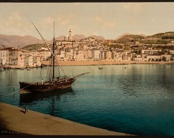The harbor and old town, Mentone, Riviera] 1890. Vintage photo postcard reprint 8x10-up.