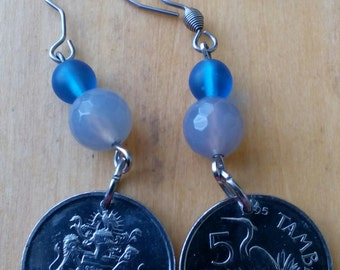 Coin jewelry-Earrings from Vintage coins Malawi,Fantasy coin jewelry, One of a kind. Free shipping!