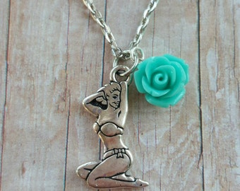 Pinup girl necklace, silver pinup girl necklace, pinup girl jewelry, pinup girl accessories,