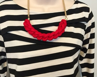 Sailor Fiesta Red Nautical Rope Knot Twisted Knotted Red Statement Necklace CLEARANCE
