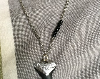 Silver and black beaded necklace with silver painted shark tooth