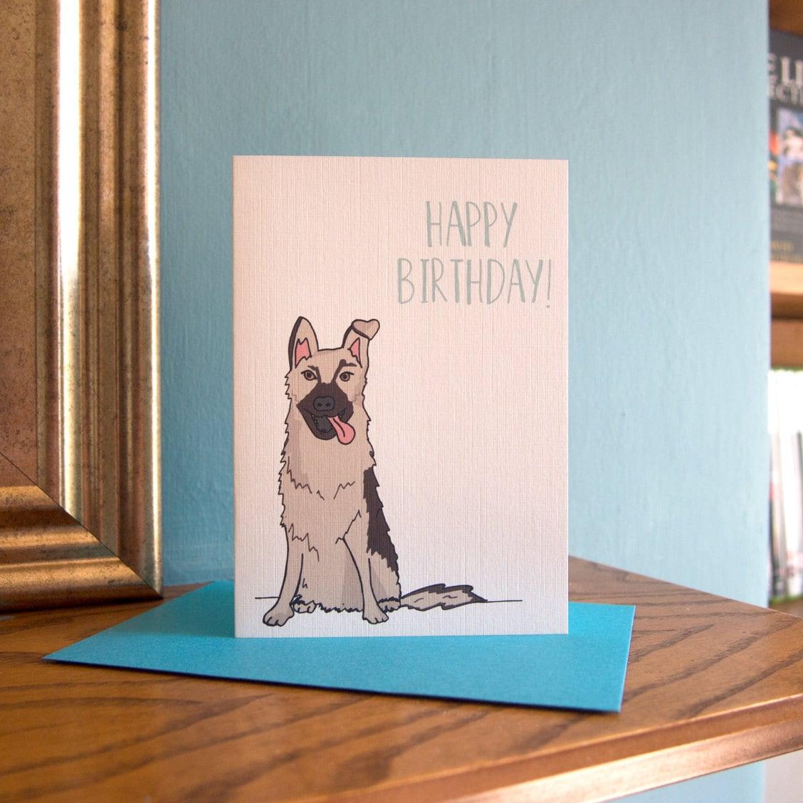 happy birthday card  german shepherd  dog birthday card