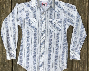 THIN Vintage Western Snap Shirt, Pearlized buttons, Size Large