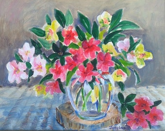 Azalea and Lenten Rose painting, 14x18 original acrylic by Shirley Lowe, Hellebores, shade loving plants, gardener's gift, Southern floral
