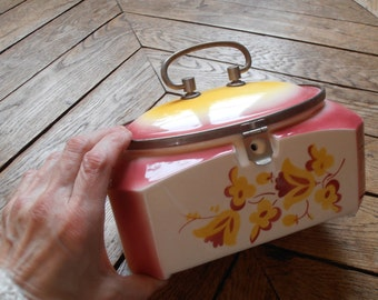 A vintage ceramic box