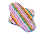 Funky Stripes, Royal Blue Bamboo Velour Reusable Washable Cloth Menstrual Pad With Hemp Inner Absorbent Layers