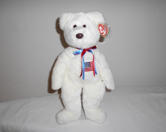 """Beanie Buddy """"Libearty""""/Lovely Plush White Soft Bear With Embroidered American Flag/Brown Button Nose and Red and Blue Ribbon/With Tags"""