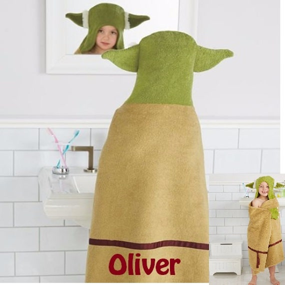Yoda Geeky Baby Hooded Towel with name
