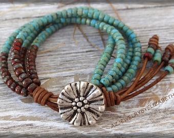 Elizabeth's Original Design Seed Bead Leather Wrap Bracelet/ Beaded Leather Wrap/ Seed Bead Leather Bracelet/ Boho Wrap Bracelet/Bohemian.