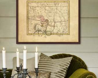 "Sagittarius sign print 1822, Vintage Sagittarius constellation zodiac star map, 4 sizes up to 36x30"" (90x75cm) - Limited Edition of 100"