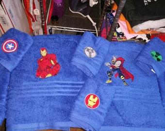 Avengers inspired embroidered bath towels marvels hulk captain america thor iron man black widow hawkeye