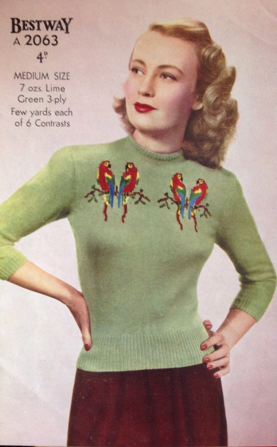 1940's Bestway Knitting Pattern for a Stunning Fair Isle Jumper ...