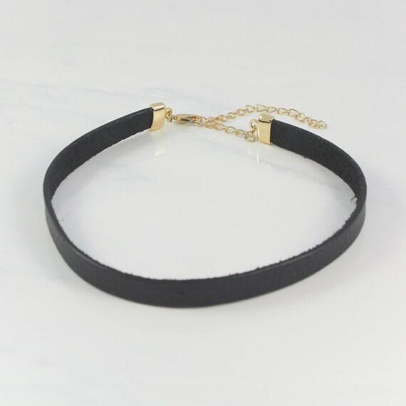 black leather choker necklace