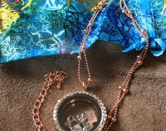 CLEARANCE!! Rose Gold Tone Breast Cancer Hope Window Locket with Chain