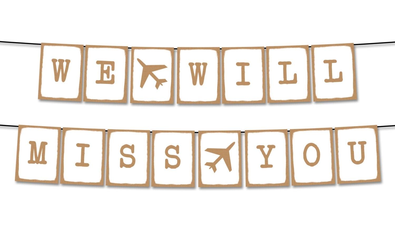 we will miss you plane kraft paper typewriter printable