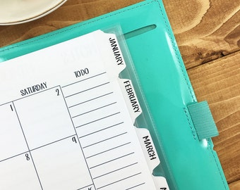 A5 Planner Tabs 12 Monthly laminated self-adhesive - REMOVABLE - sturdy tabs - January through December - divider tabs