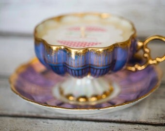 Vintage Tea Cup Soy Candle - Royal Sealy Japan Fine Bone China Tea Cup & Saucer - Lavender Luxury Scented