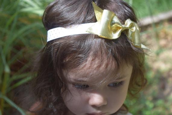 Gold bow ,bow Baby Headband, Newborn Headband,  Infant Headband,Baby Headband, Headband Baby, Baby Headband