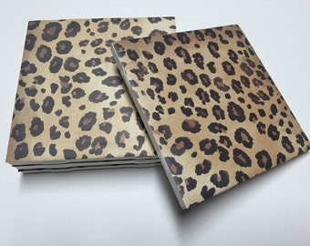 Leopard Print Coasters - Cheetah Print Home Decor - Drink Coasters - Tile Coasters - Ceramic Coasters - Table Coasters