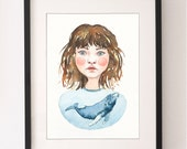 A4 Girl & Whale Print, Whale, Whale Print, Whale Illustration, Wall Art, Water Colour, Water Color, Fine Art Print