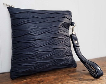 Cecilia Clutch Ruched  Navy Leather w/ Detachable Wrist Strap