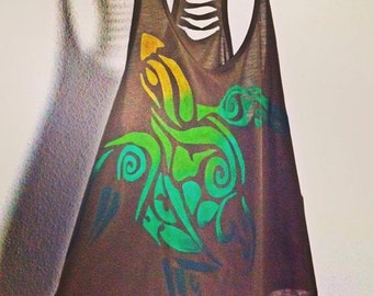 "Hand painted Tank Top  ""TURTLE"""