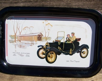 1910 Ford Torpedo Automobile Tin Tray Filling Station Gas Station