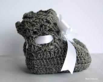 Dark grey Lacey Crochet Baby Booties