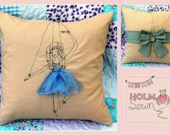 Marionette ballerina cushion - made to order in your choice of colours