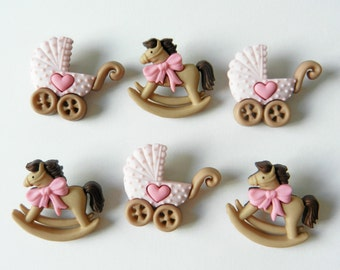ROCKING HORSE & BUGGY in Pink set of Dress It Up Novelty Craft Buttons