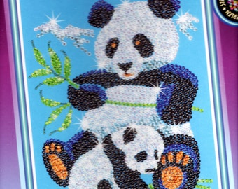 Panda with Cub SEQUIN ART Craft KIT, Brand New For Age 8 plus