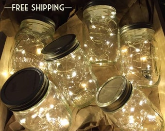 Firefly Lights and Mason Jar, Outdoor Lightning, rustic, Fairy Lights, Mason Jar Lights, String Lights, Wedding Lights, Wedding Centerpiece