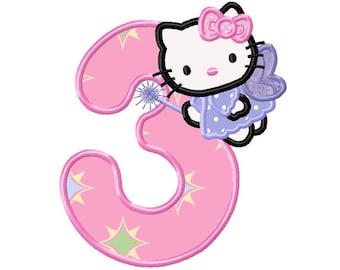 Kitty Angel 3rd Birthday...Applique Machine Embroidery DESIGN NO. 675