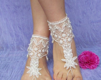 Bridal lace barefoot sandals in ivory, Wedding ivory lace anklets sewn with beads, Wedding foot jewelry, Bridal jewelry, Lace jewelry