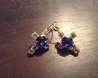 Cross earrings with Swarovski crystal elements