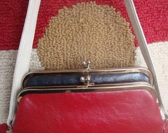Vintage Handbag Red Blue White