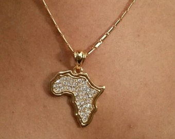 Africa map crystal  pendant and necklace