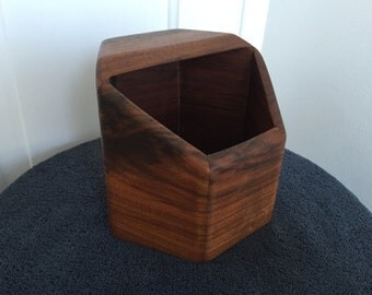 Vintage Teak Catch All Desktop Holdall California Wood Mid Century Modern