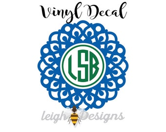 Mandala Monogram Decal, Monogram Sticker, Car Sticker, Vinyl Car Decal, Monogram, Vinyl Car Monogram, Custom Car Decal, Vinyl Monogram Decal
