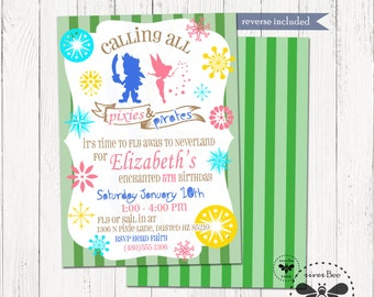 Pixie Pirate Birthday Invitation Printable, Digital Pirates and Fairies Party Invitation, Boy Girl Party Invite