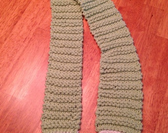 Chunky knit scarf, soft, country scarf, womens, children, light green