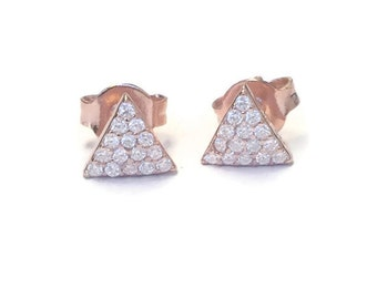 Diamond triangle earring studs