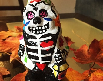 """Day of the Dead Garden gnome """"Fiona"""" 5.5 inches, inspired by Dia de Muertos"""