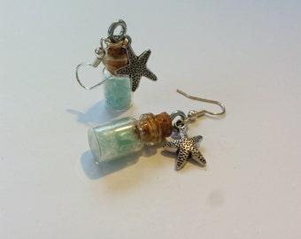 Nautical Glow Crystal Bottle Earrings- Starfish Charm