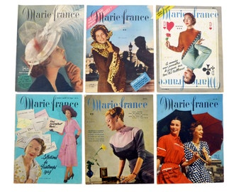 "Women's magazines french vintage ""Marie France"" - Mode health beauty news people advertisements - newspaper retro early 40's - Collection"